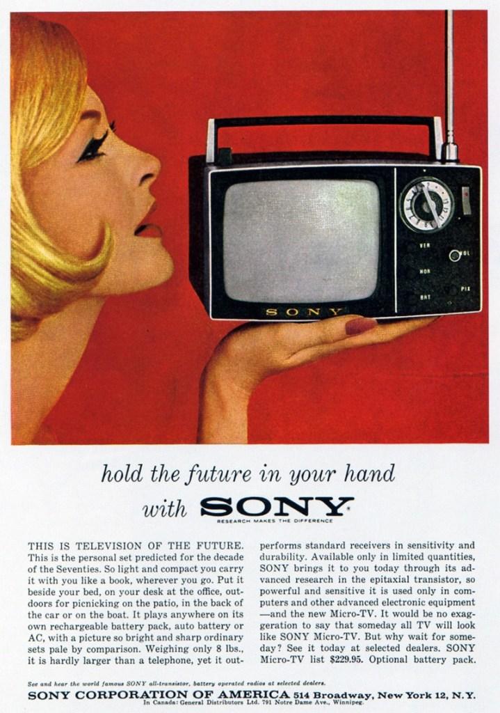 Реклама телевизора Sony TV5-303 (1962)