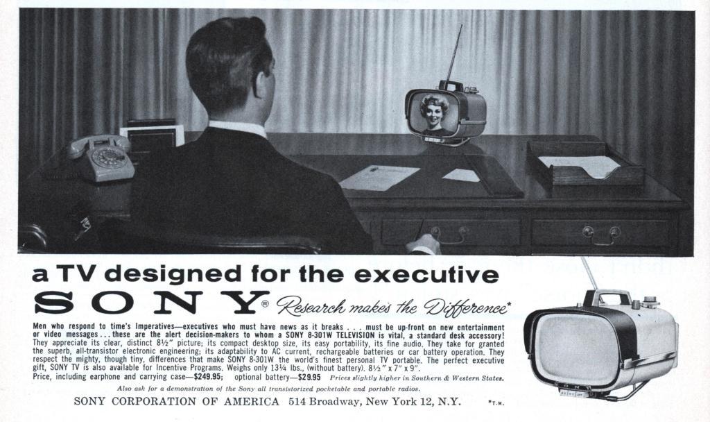 Реклама телевизора Sony TV8-301 1